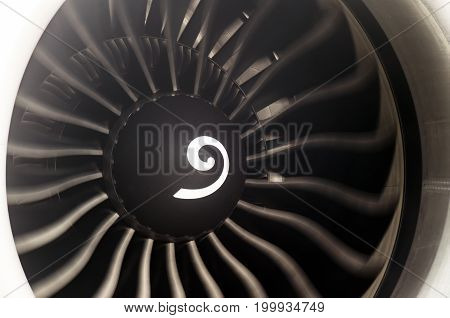 Airplane Engine Blades Passenger Airliner Close Up