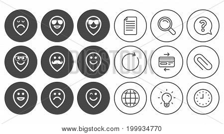 Smile pointers icons. Happy, sad and wink faces signs. Sunglasses, mustache and laughing lol smiley symbols. Document, Globe and Clock line signs. Lamp, Magnifier and Paper clip icons. Vector