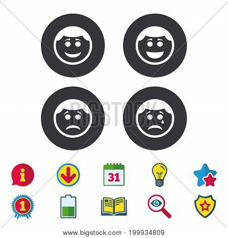 Circle smile face icons. Happy, sad, cry signs. Happy smiley chat symbol. Sadness depression and crying signs. Calendar, Information and Download signs. Stars, Award and Book icons. Vector