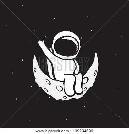 Spaceman sits on the moon .Childish vector illustration