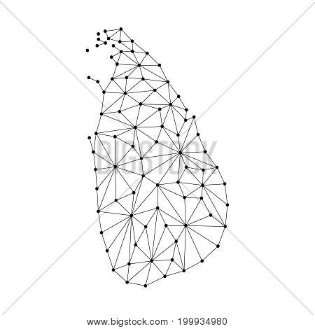 Sri Lanka map of polygonal mosaic lines network rays and dots vector illustration.