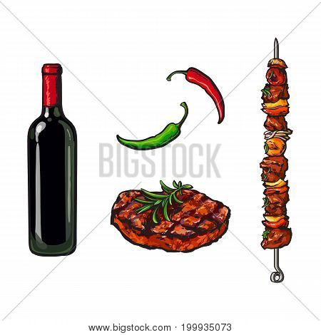 Barbeque, BBQ party elements - red wine bottle, beef steak, roasted meat of stick, sketch style vector illustration on white background. Realistic hand drawing of BBQ elements - wine and meat