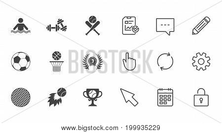 Sport games, fitness icons. Football, basketball and baseball signs. Swimming, fireball and winner cup symbols. Chat, Report and Calendar line signs. Service, Pencil and Locker icons. Vector