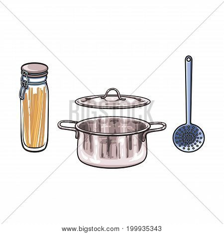 vector metal chrome cooking pot, skimmer, glass jar with swing top lid set sketch cartoon isolated illustration on a white background. Kitchenware equipment utensil objects concept