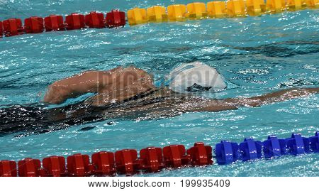Hong Kong China - Oct 30 2016. Katinka HOSSZU (HUN) swimming in the Women's Individual Medley 100m Final. FINA Swimming World Cup Victoria Park Swimming Pool.