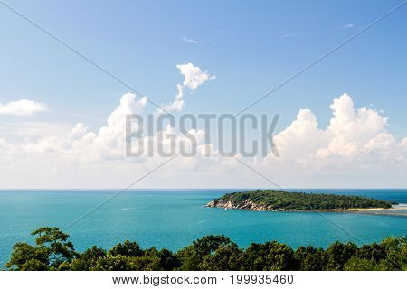 Sea blue view with outdoor and blue sky background