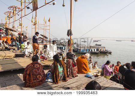 Varanasi, India - January 25, 2017: Morning View Of Holy Ghats Of River Ganges In Varanasi, India.