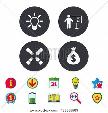 Presentation billboard icon. Dollar cash money and lamp idea signs. Man standing with pointer. Teamwork symbol. Calendar, Information and Download signs. Stars, Award and Book icons. Vector