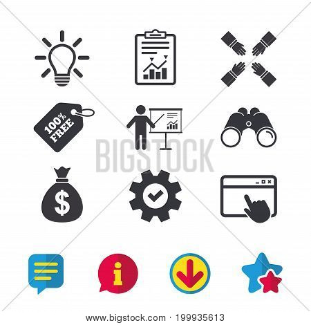 Presentation billboard icon. Dollar cash money and lamp idea signs. Man standing with pointer. Teamwork symbol. Browser window, Report and Service signs. Binoculars, Information and Download icons