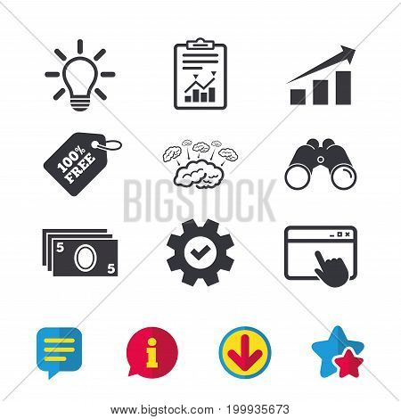 Chart with arrow, brainstorm icons. Cash money and lamp idea signs. Scheme and Diagram symbol. Browser window, Report and Service signs. Binoculars, Information and Download icons. Stars and Chat