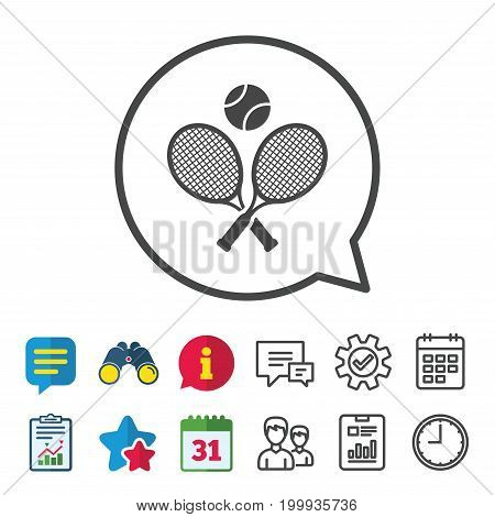Tennis rackets with ball sign icon. Sport symbol. Information, Report and Calendar signs. Group, Service and Chat line icons. Vector