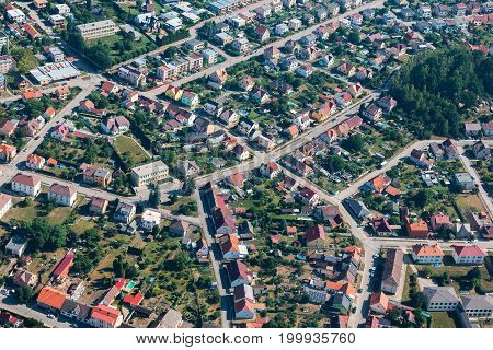 Aerial view of small city with many streets and houses Czech Republic