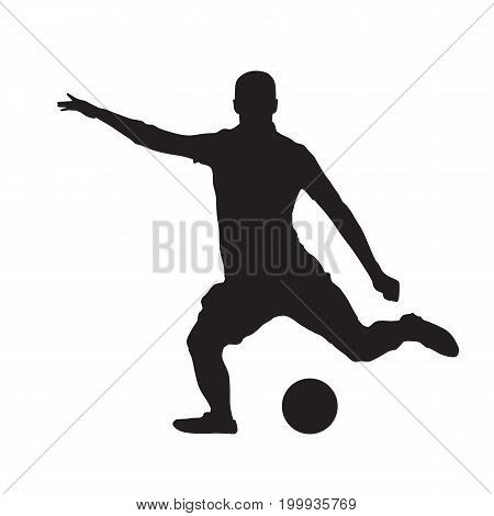Soccer player kicking ball isolated vector silhouette