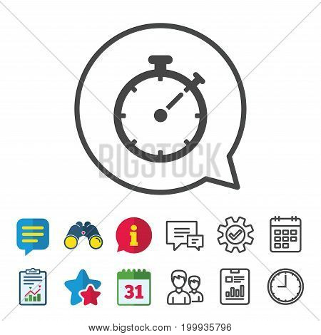 Timer sign icon. Stopwatch symbol. Information, Report and Calendar signs. Group, Service and Chat line icons. Vector