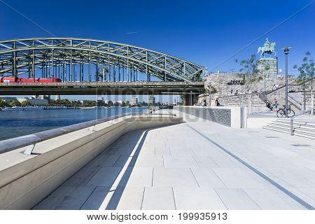 Cologne River Promenade And Bridge, Germany, Editorial