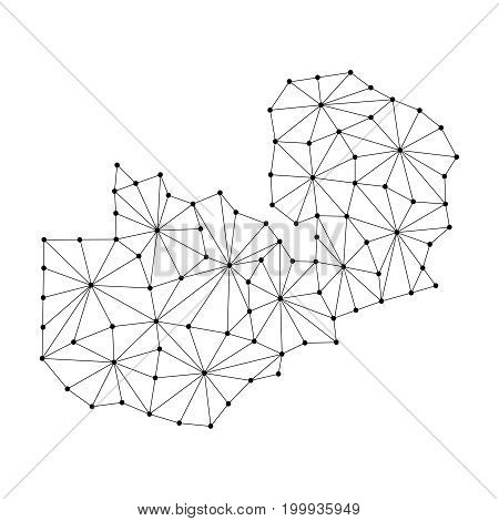 Zambia map of polygonal mosaic lines network rays and dots vector illustration.