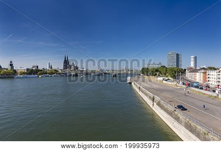 Cologne Skyline And Rhine River, Germany, Editorial