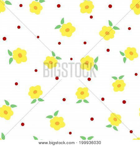 Cute flowers with leaves and polka dots. Floral seamless pattern. White yellow green red orange colour. Vector illustration.