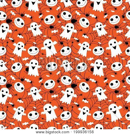 Abstract seamless pattern for girls or boys. Creative vector background with whitch, halloween. Halloween childish pattern. Scary halloween print, Halloween pattern for clothes. Simple pattern, Cute pattern.