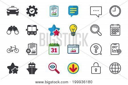 Transport icons. Taxi car, Bicycle, Public bus and Ship signs. Shipping delivery symbol. Family vehicle sign. Chat, Report and Calendar signs. Stars, Statistics and Download icons. Vector