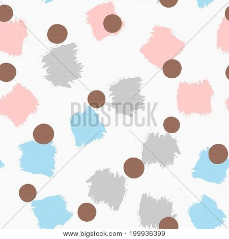 Abstract colored seamless pattern with brushstrokes and circles. Drawn by hand. Pastel. Grunge ink watercolor gouache sketch. Vector illustration.