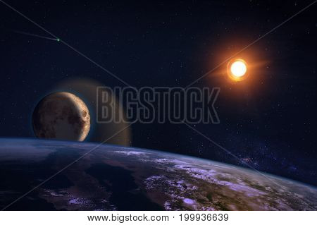 Fantasy Composition Of The Planet Earth And The Moon