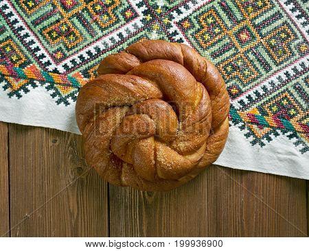 Eastern European Easter Bread. Close up  prepared mea