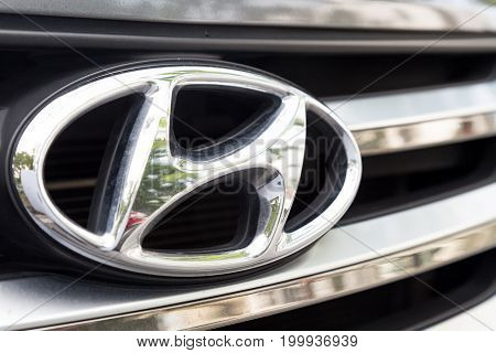 KUALA LUMPUR MALAYSIA - August 12 2017: The Hyundai Motor Group is a South Korean multinational conglomerate headquartered in Seoul South Korea.  Picture here is the latest emblem of Hyundai.
