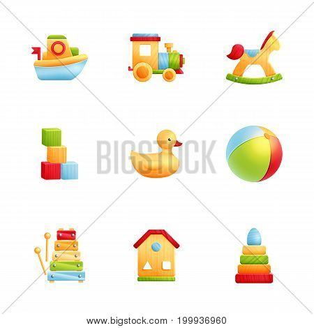 Collection of colorful baby toys include xylophone pyramid horse boat