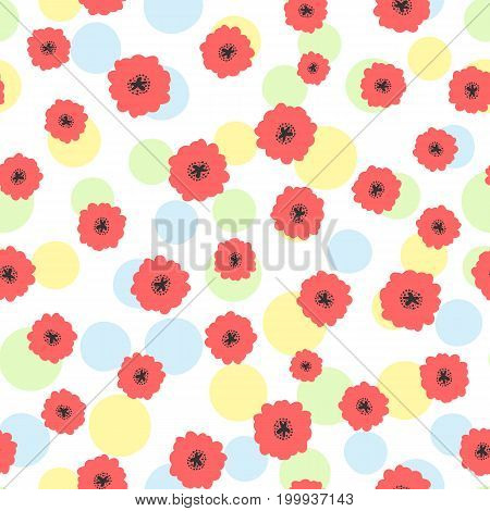 Abstract flowers and polka dot. Cute seamless pattern. Vector illustration. White blue green yellow red black colour.