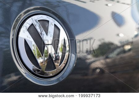KUALA LUMPUR MALAYSIA - August 12 2017: Volkswagen is a German automaker founded on May 28 1937. It is the flagship marque of the Volkswagen Group the largest automaker by worldwide sales in 2016. Picture here is the latest emblem of Volkswagen.