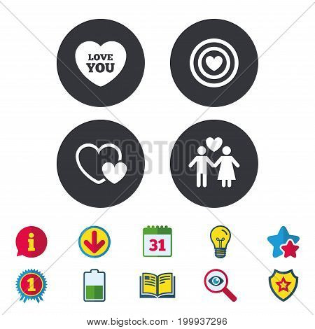 Valentine day love icons. Target aim with heart symbol. Couple lovers sign. Calendar, Information and Download signs. Stars, Award and Book icons. Light bulb, Shield and Search. Vector
