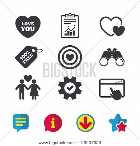 Valentine day love icons. Target aim with heart symbol. Couple lovers sign. Browser window, Report and Service signs. Binoculars, Information and Download icons. Stars and Chat. Vector