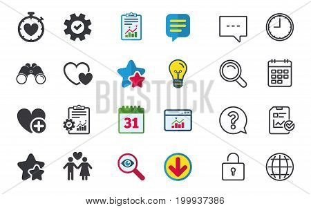 Valentine day love icons. Love heart timer symbol. Couple lovers sign. Add new love relationship. Chat, Report and Calendar signs. Stars, Statistics and Download icons. Question, Clock and Globe