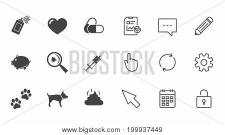 Veterinary, pets icons. Dog paws, syringe and magnifier signs. Pills, heart and feces symbols. Chat, Report and Calendar line signs. Service, Pencil and Locker icons. Click, Rotation and Cursor