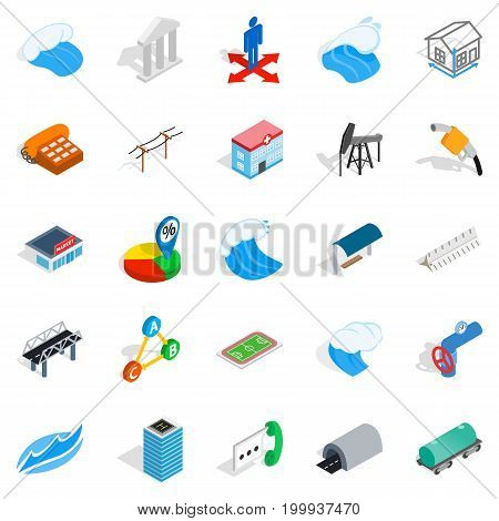 Street lighting icons set. Isometric set of 25 street lighting vector icons for web isolated on white background
