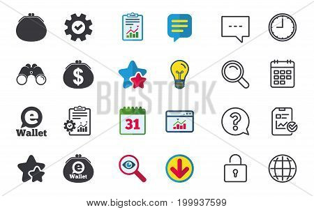 Electronic wallet icons. Dollar cash bag sign. eWallet symbol. Chat, Report and Calendar signs. Stars, Statistics and Download icons. Question, Clock and Globe. Vector