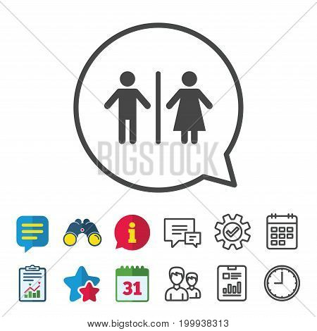 WC sign icon. Toilet symbol. Male and Female toilet. Information, Report and Calendar signs. Group, Service and Chat line icons. Vector