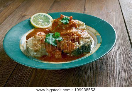 cazuela de pescado colombiana Seafood Stew close up meal