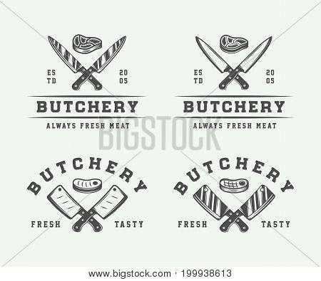 Set of vintage butchery meat steak or bbq logos emblems badges labels. Monochrome Graphic Art. Vector Illustration.
