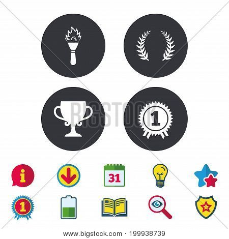 First place award cup icons. Laurel wreath sign. Torch fire flame symbol. Prize for winner. Calendar, Information and Download signs. Stars, Award and Book icons. Light bulb, Shield and Search. Vector