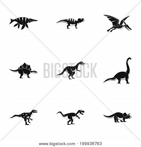 Types of dinosaur icons set. Simple set of 9 types of dinosaur vector icons for web isolated on white background