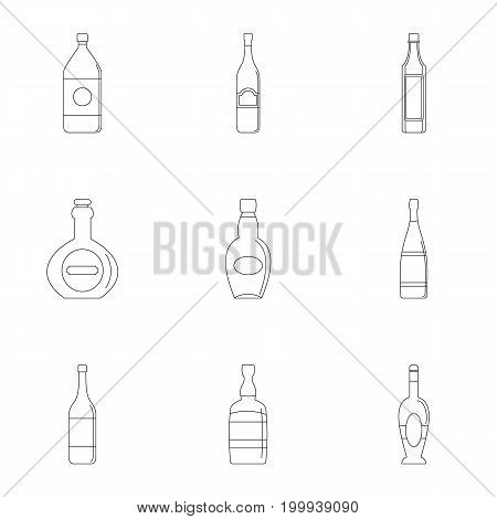 Bottle packaging icon set. Outline style set of 9 bottle packaging vector icons for web isolated on white background