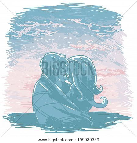 poster with kissing couple silhouette on sunrise or tender sunset background  in sketch style, vector illustration
