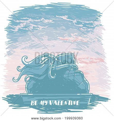 poster with kissing couple silhouette on sunrise or tender sunset background  in sketch style, artistic banner for valentine's day, vector illustration