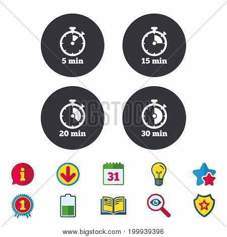 Timer icons. 5, 15, 20 and 30 minutes stopwatch symbols. Calendar, Information and Download signs. Stars, Award and Book icons. Light bulb, Shield and Search. Vector
