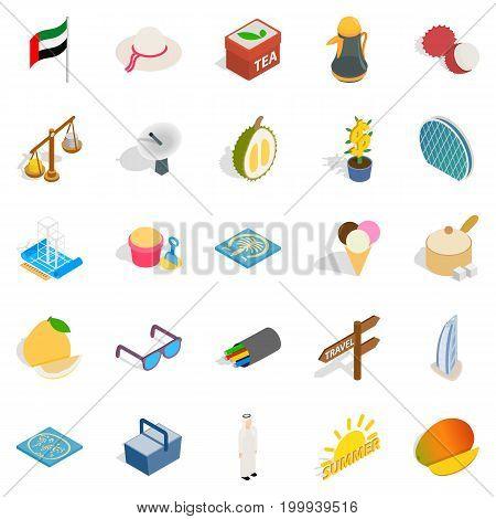 United Arab Emirates icons set. Isometric set of 25 united arab emirates vector icons for web isolated on white background