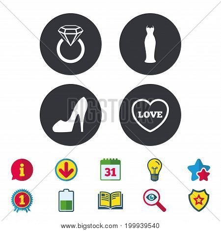 Wedding slim dress icon. Women's shoe and love heart symbols. Wedding or engagement day ring with diamond sign. Calendar, Information and Download signs. Stars, Award and Book icons. Vector