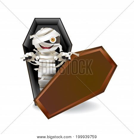 Mummy zombie character in a coffin on white background. Vector illustration for Halloween festival.