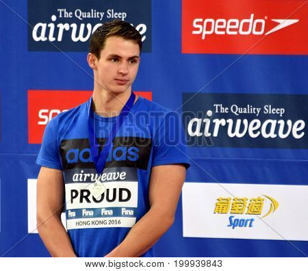 Hong Kong China - Oct 30 2016. PROUD Benjamin (GBR) at the Victory Ceremony of Men`s Freestyle 50m. FINA Swimming World Cup.